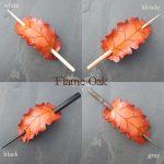 Leather oak leaf barrettes in flame orange