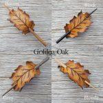 Leather oak leaf barrettes in autumn gold