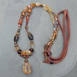 Rutilated quartz beaded gemstone necklace in shades of autumn.