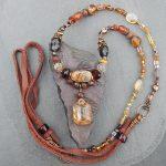 Rutilated quartz beaded gemstone necklace in shades of autumn.
