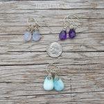 Gemstone briolette earrings with sterling silver