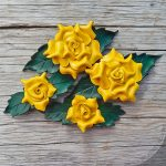 yellow leather rose barrettes