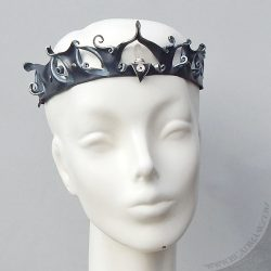filigree leather circlet with quartz crystal