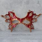 filigree leather mask with red flame motif