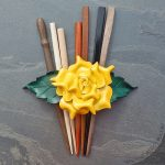 Yellow rose leather barrettes