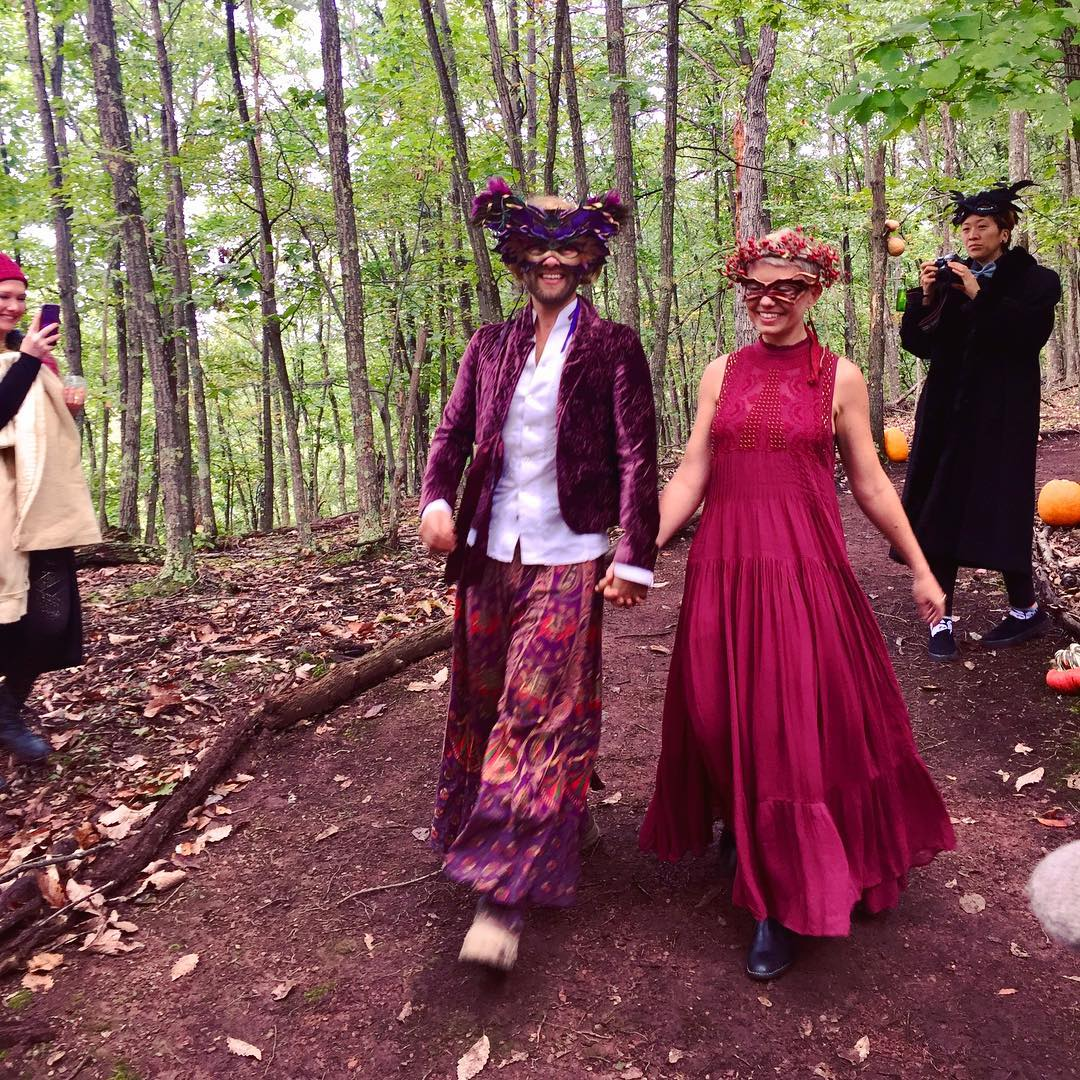Masquerade wedding in the woods
