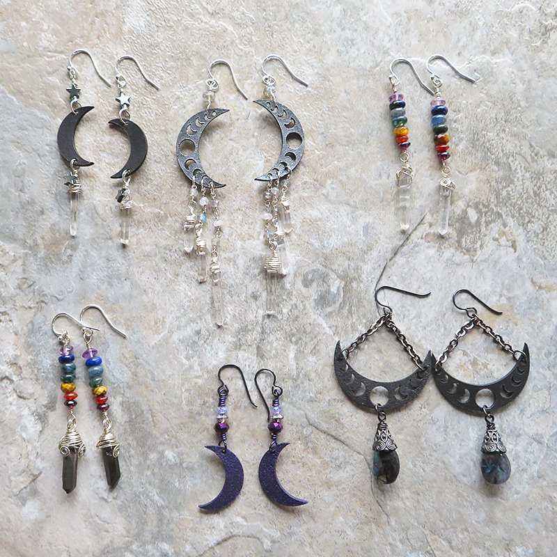 lunar phase earrings